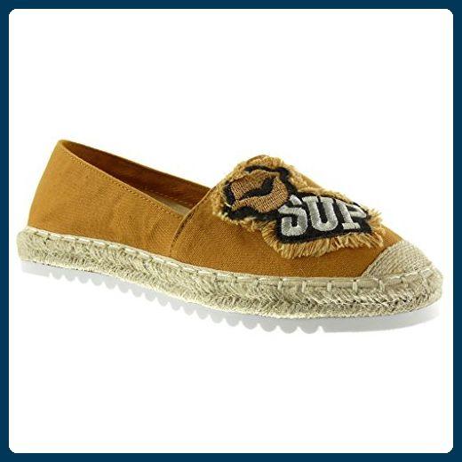 Angkorly Damen Schuhe Espadrilles Mokassin - Slip-On - Seil - Bestickt Flache Ferse 0 cm - Blau RS123 T 38 x8TXZ