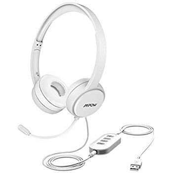 Amazon Com Mpow Usb Headset 3 5mm Computer Headset With Microphone Noise Cancelling Lightweight Pc Headset Wired Headphones Business Headset For Skype Tecno