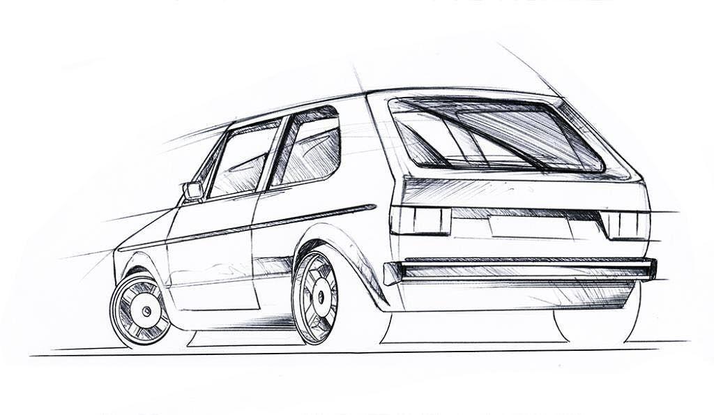 Drawing of an MK2 vw golf cabriolet Rajzok t Golf