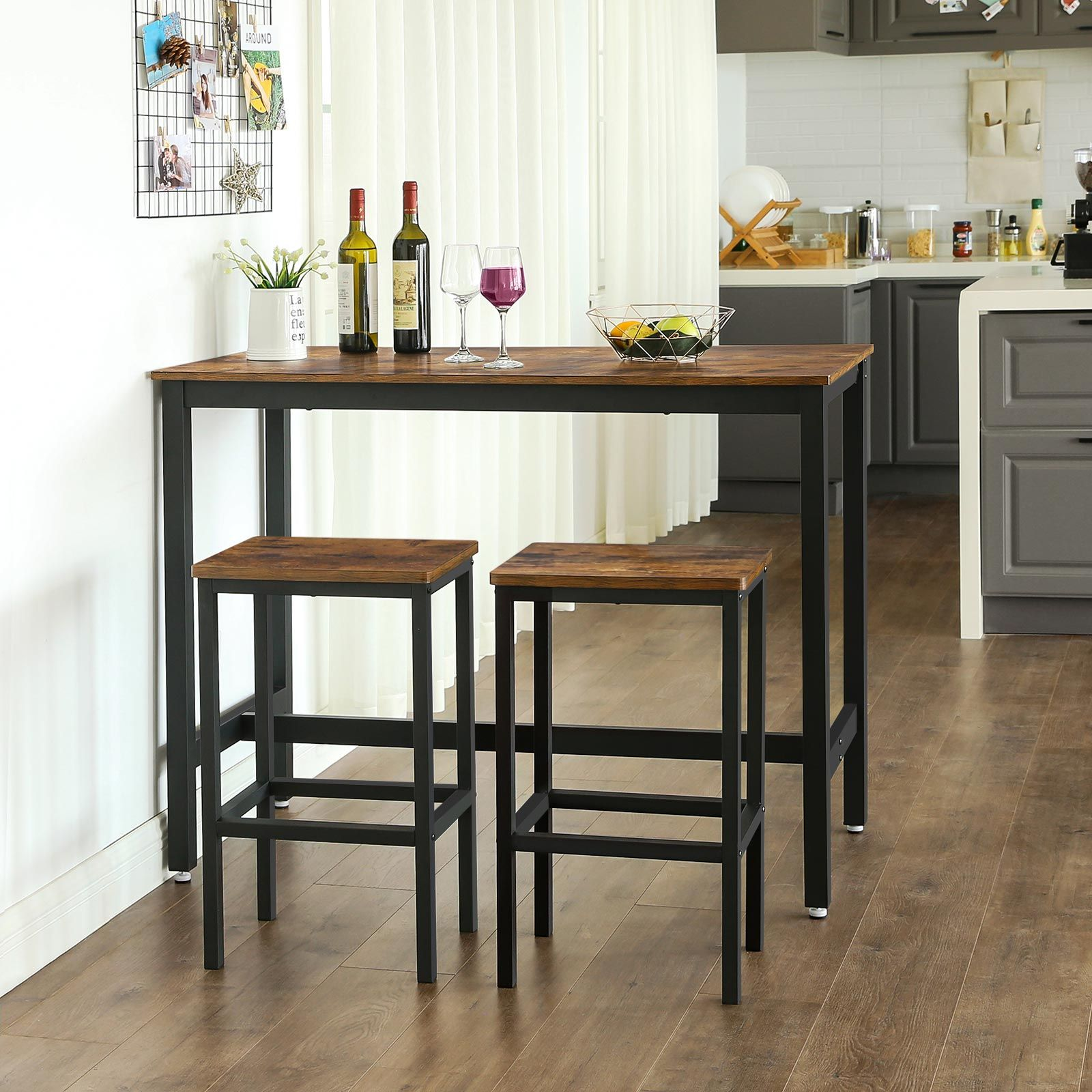 Industrial Bar Table Set Bar Table In 2020 Kitchen Bar Table Breakfast Bar Table Dining Table In Kitchen