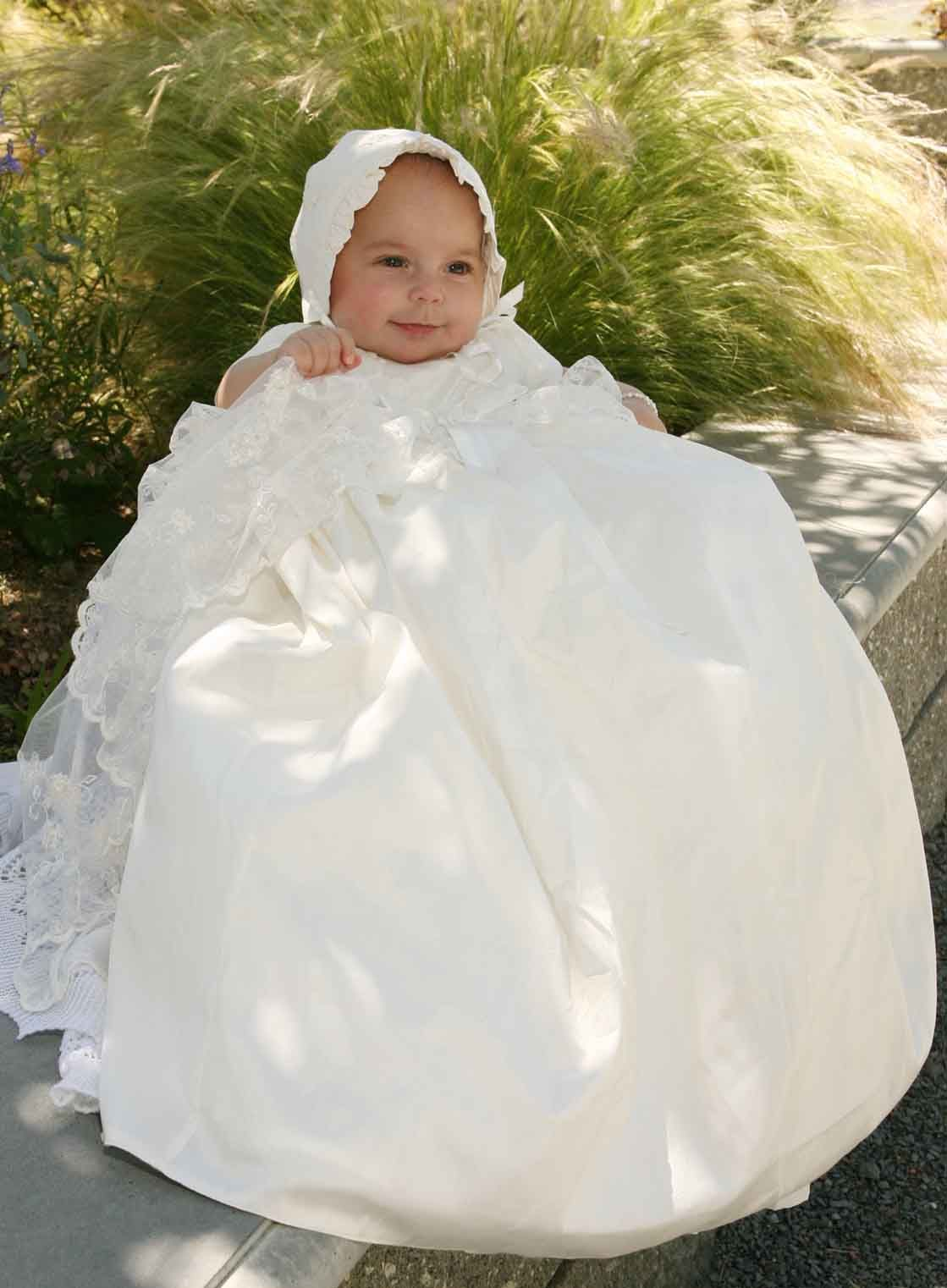 e71f28c42 NEW Sarah Louise Ivory Silk Christening Gown with Exquisitely Embroidered  Overlay (CR0911) from www.grammies-attic #ChristeningGown