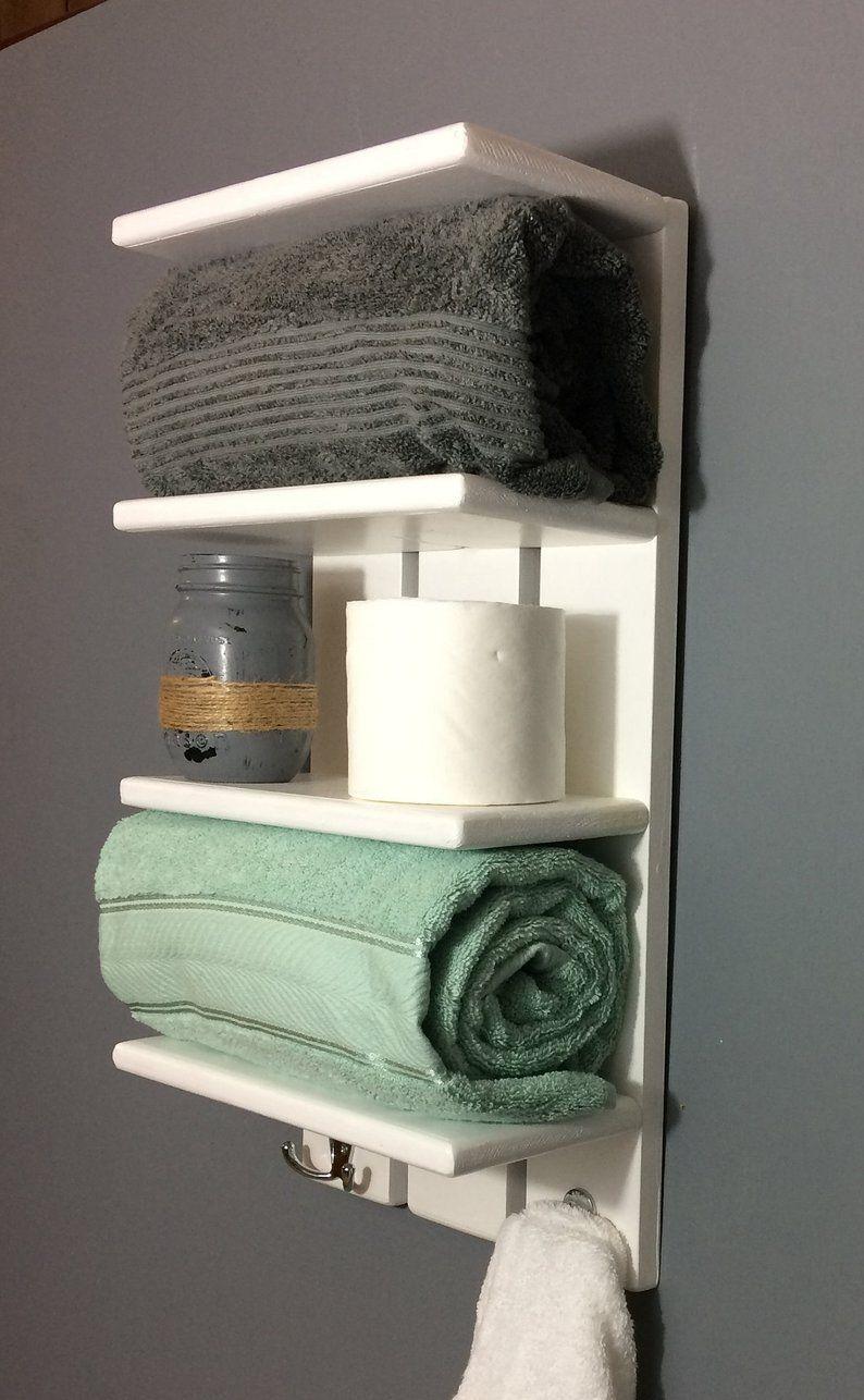 White Coastal Towel Rack With Hooks Bathroom Shelf With Hooks Rolled Towel Rack Solid White Wall Shelf For Towels Bathroom Towel Shelves With Images White Wall Shelves Bathroom Shelves For Towels