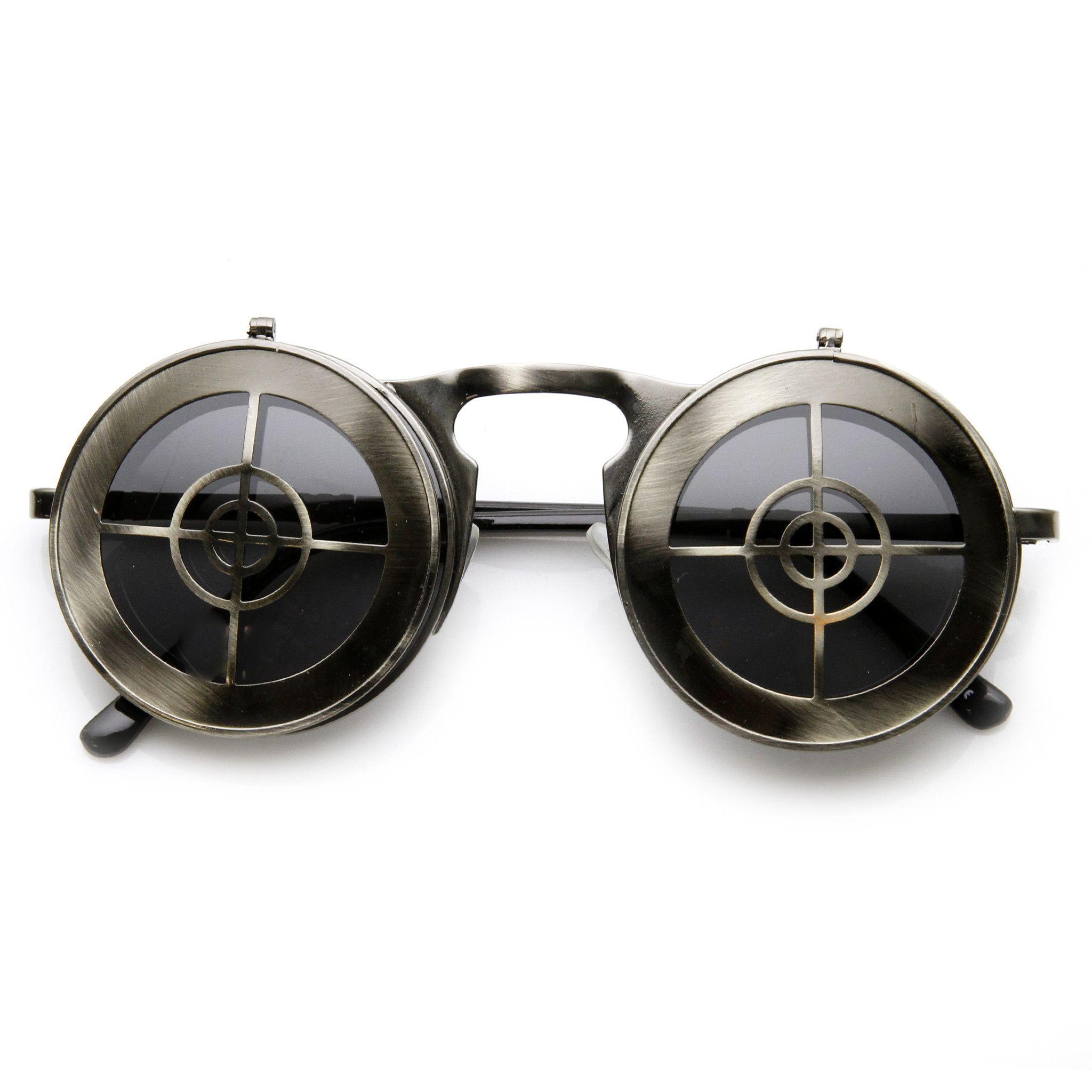 Unique Full Metal Flip Up Bulls Eye Crosshair Target Steampunk Sunglasses 9346 from zeroUV