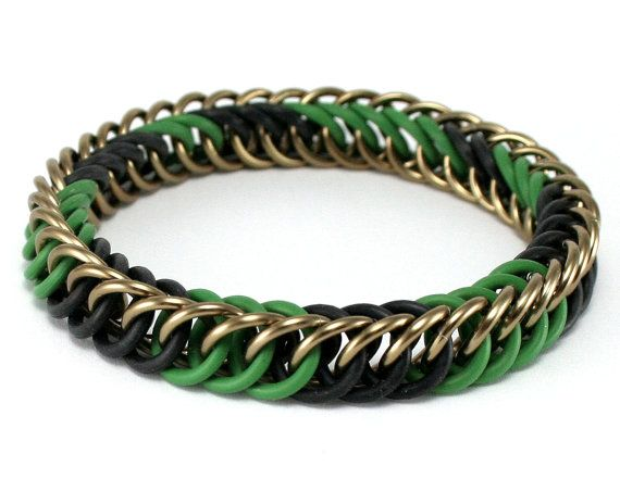 Camouflage Stretch Chainmaille Bracelet Handmade From High Quality