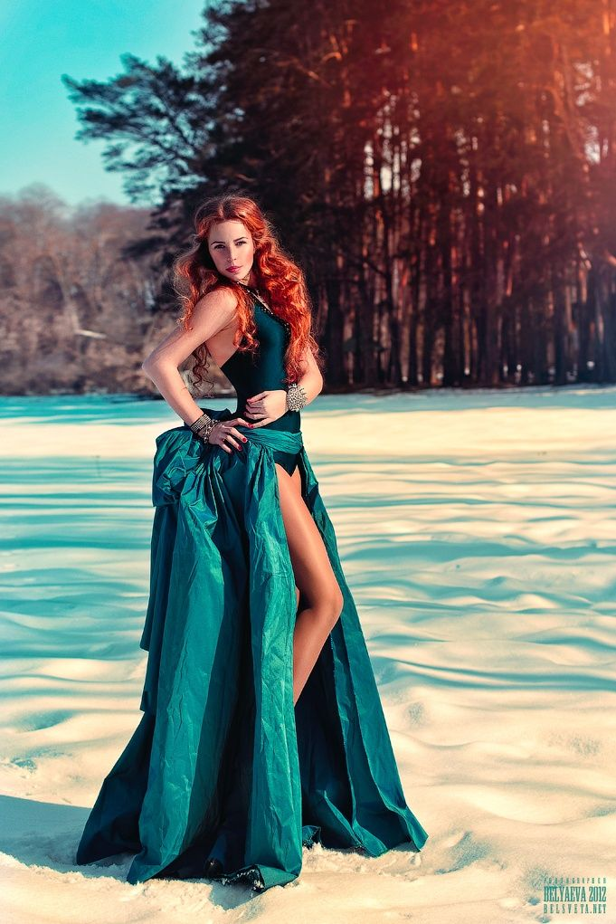 red hair and blue eyes, blue dress by Светлана  Беляева on 500px
