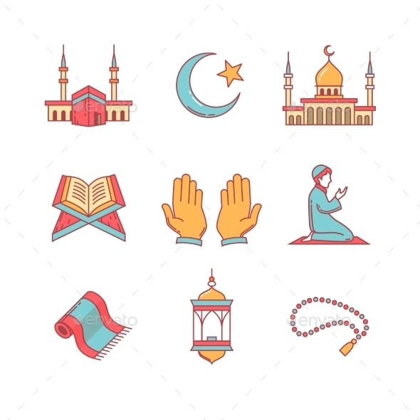 Muslim Islam Prayer And Ramadan Kareem Thin Line Icons Set Modern