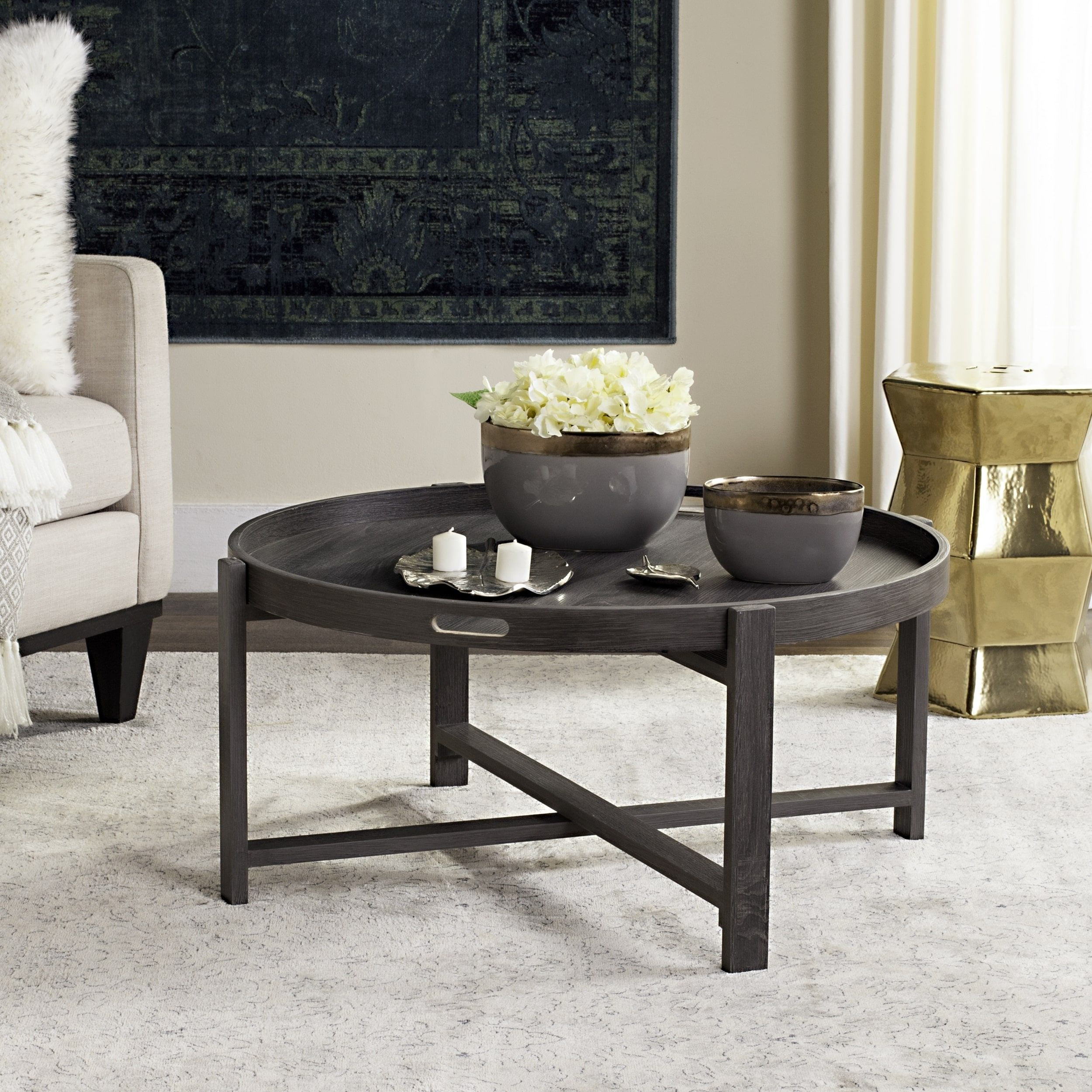 Coole Couchtische Safavieh Cursten Dark Grey Coffee Table Overstock Shopping