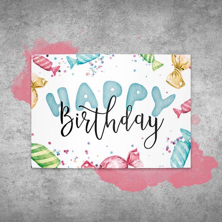 Glückwunschkarte / Postkarte zum Geburtstag Bonbon  Happy Birthday  #Geburtst... #2019giftideas #birthday #bonbon #geburtst #geburtstag #gluckwunschkarte #happy #postkarte #birthdayquotesforsister