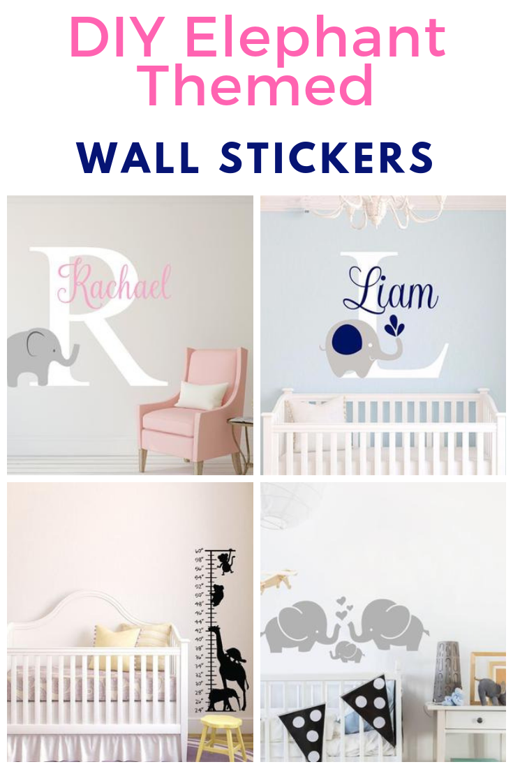 Easy to fit DIY elephant wall art, elephant nursery decor, diy