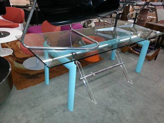 Authentic Vintage LC6 Le Corbusier Dining Table W Glass / Desk Console  Cassina