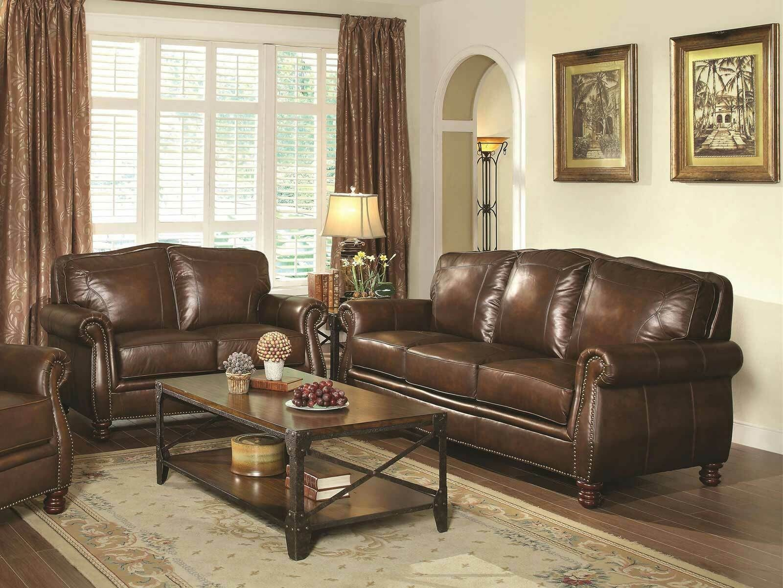Traditional Living Room Furniture Brown Leather Sofa Couch