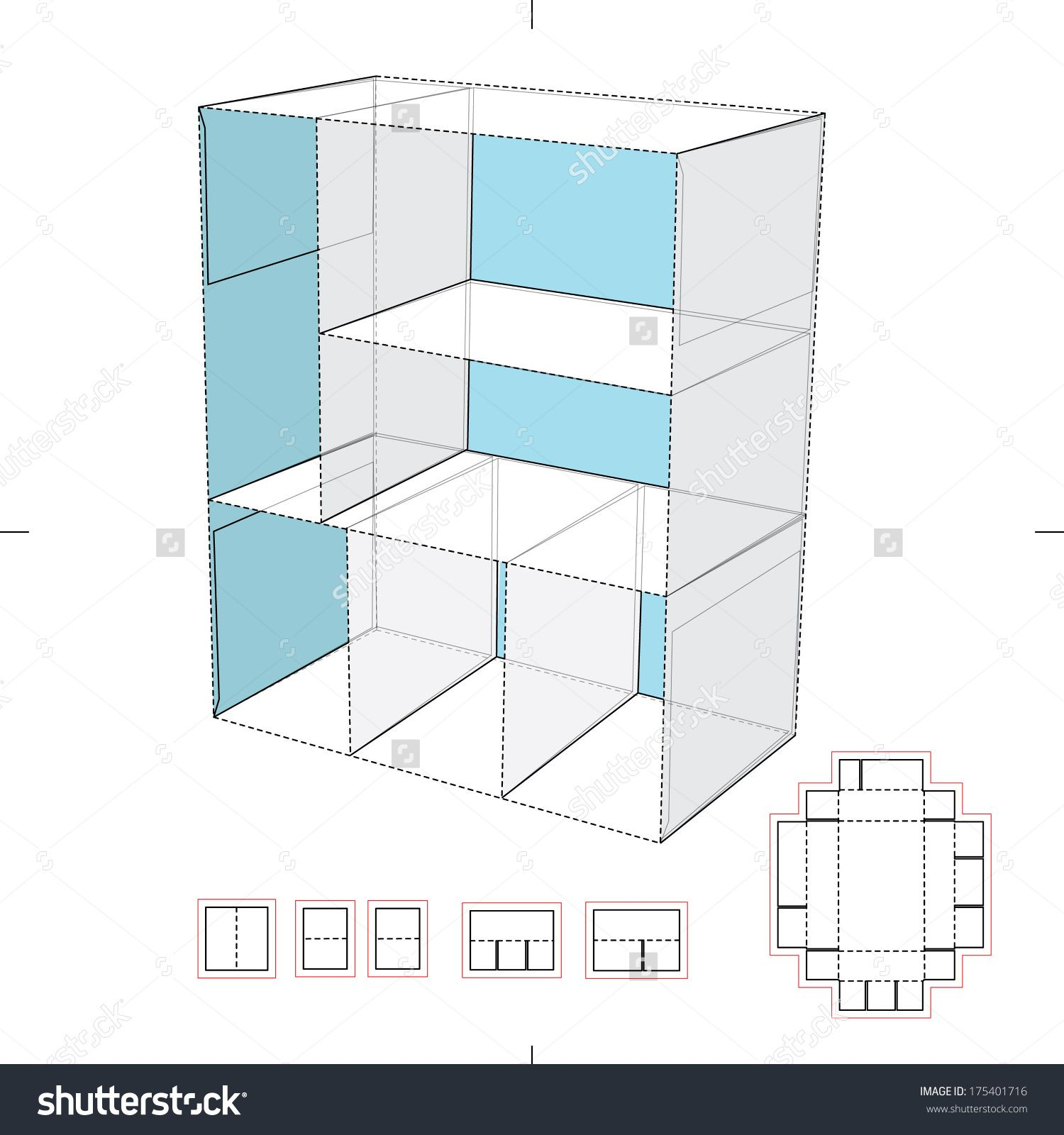 Cardboard shelf blueprint layout stock vector illustration for Imitazioni mobili design