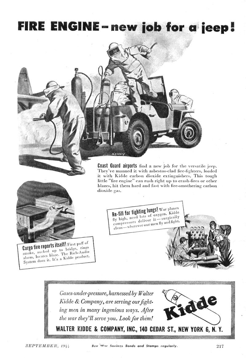 classic jeep coast guard fire truck ad from 1944 by kidde