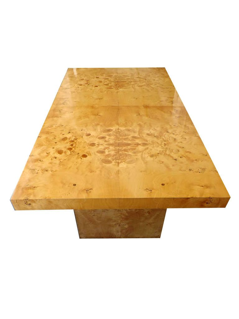 Patchwork burl wood dining table evoking the style of milo baughman