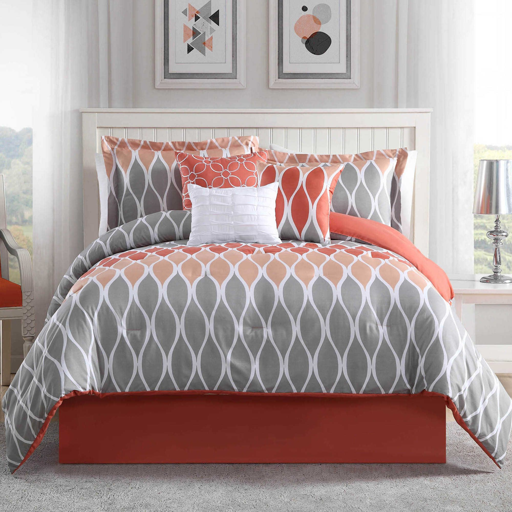 Studio 17 Clarisse 7 Piece King Reversible Comforter Set In Coral