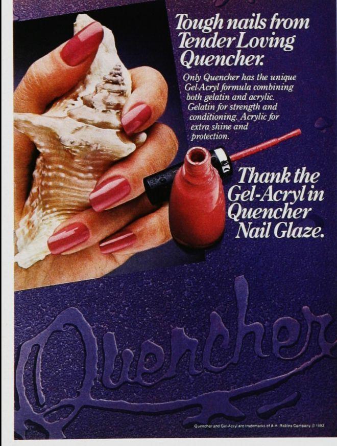 1983 Quencher Gel-Acryl nail glaze ad