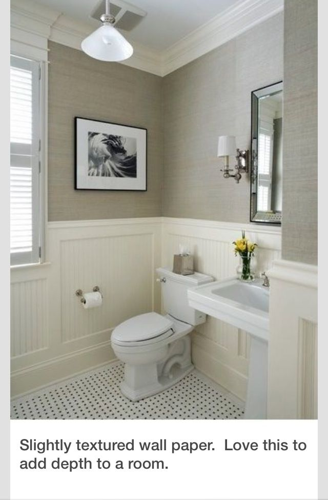 Half Tiled Wall Drywall Paint Powder Room Design