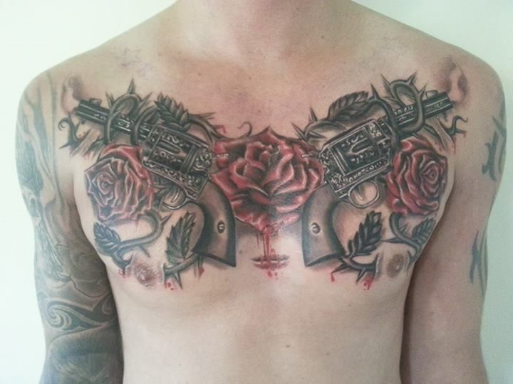 Done By Famous Dave In Perth Rose Tattoos Tattoos Chest Tattoo