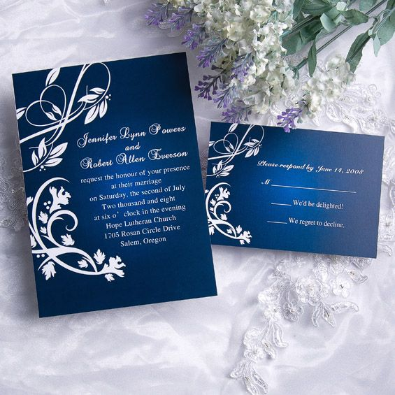 Classic Blue Damask Wedding Invitations With Response