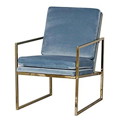 Lounge Sessel in Hellblau Blau Samt Stuhl, Kupfer blick Messing - stühle für wohnzimmer