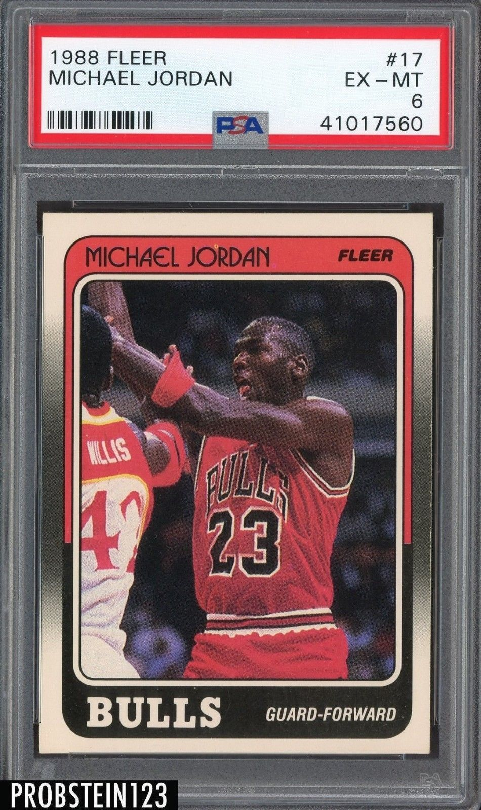 0af143e6e3420c 1988 Fleer Basketball  17 Michael Jordan HOF Bulls PSA 6 EX-MT   BasketballCards