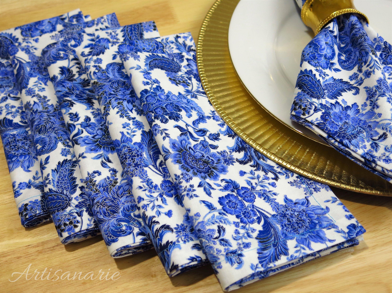 Blue And White Napkins Blue Table Decor Set Of 6 Dinner Napkins Reusable Cloth Napkins Porcelain Blue Napk Cloth Dinner Napkins Blue Napkins Blue Decor