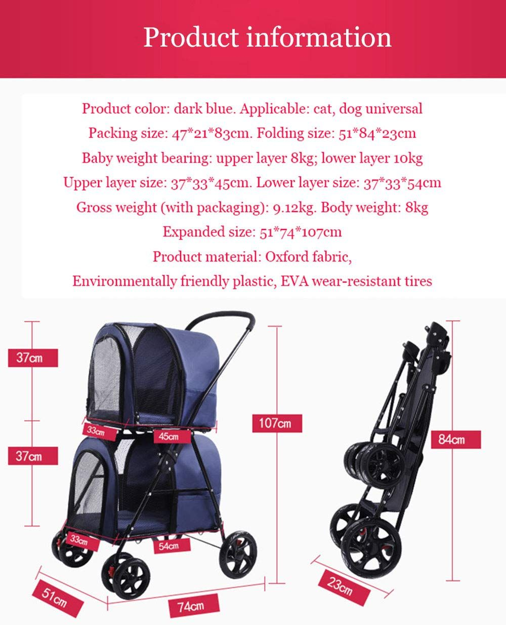 WMDD Double Layer Pet Stroller Detachable Double Dog