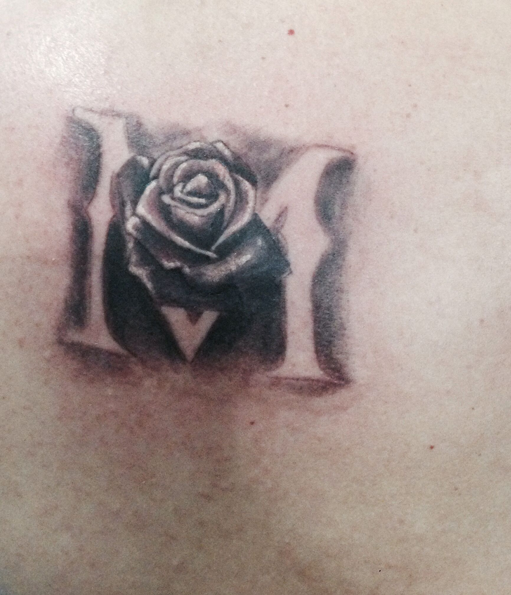 """New tattoo. Letter """"M"""" with a rose.   Tattoos, New tattoos"""