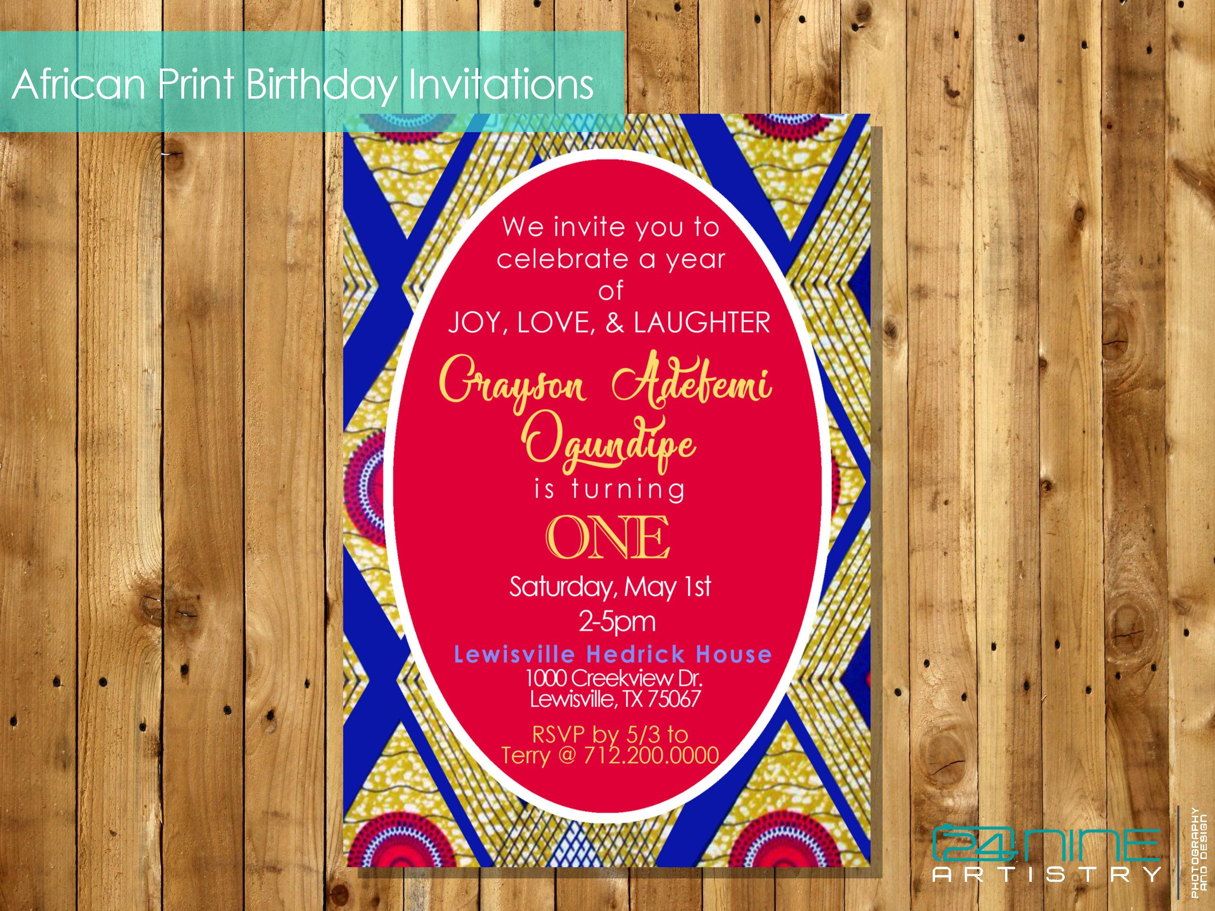 African ankara invitation royal birthdaybaby etsy