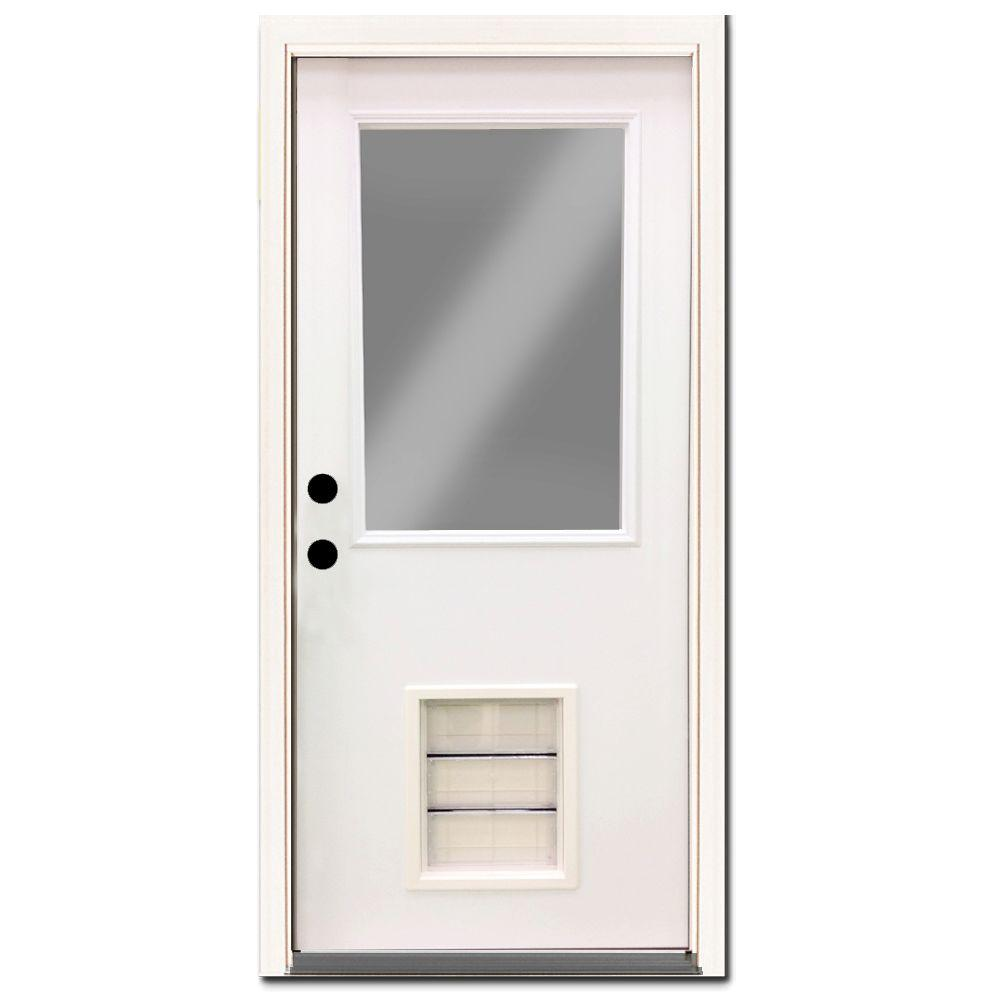 Steves Sons Premium Half Lite Primed White Steel Back Door 32 In Right Hand Inswing With Extra Large Pet Door Spd H1clpr 28 4irh Steel Entry Doors Pet Door Steel Doors