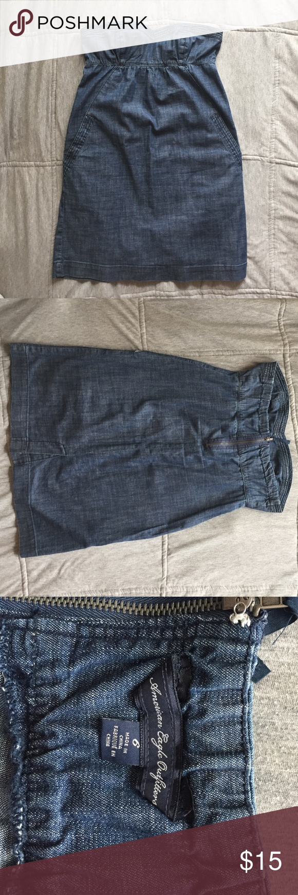 American Eagle Strapless Denim Dress Strapless denim dress by American Eagle. Can easily be dressed up or down. Super cute with booties and jacket for cooler months or sandals in the summer. Has pockets! American Apparel Dresses Strapless