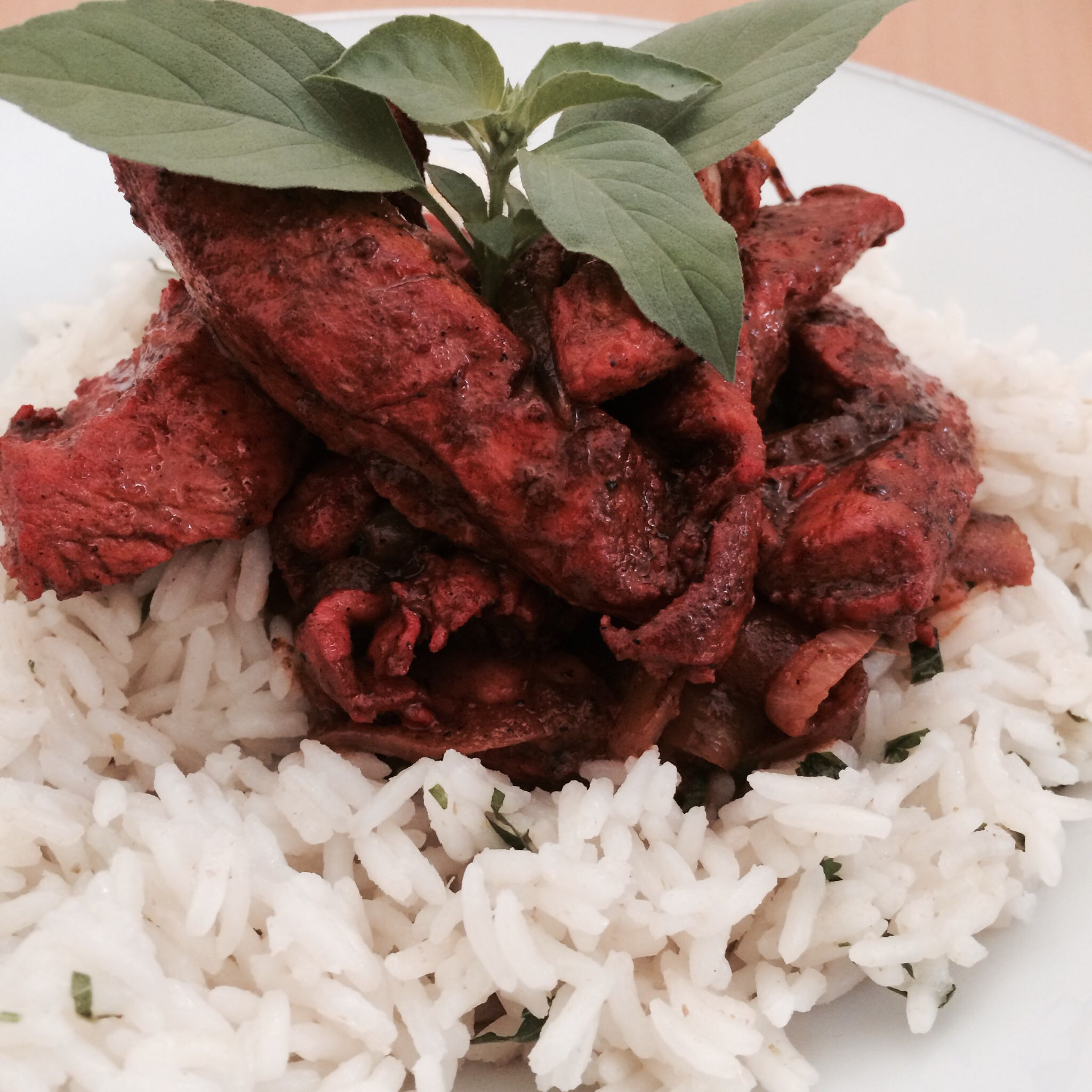 Home made tandoori chicken, vietnamesse mint and thai hairy basil rice.