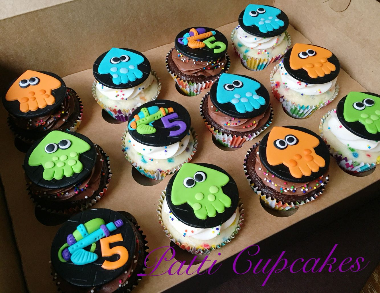 Splatoon Inspired Cupcakes