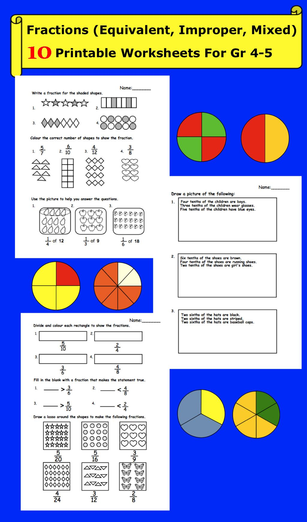 Fractions (Equivalent, Improper, Mixed) Printable