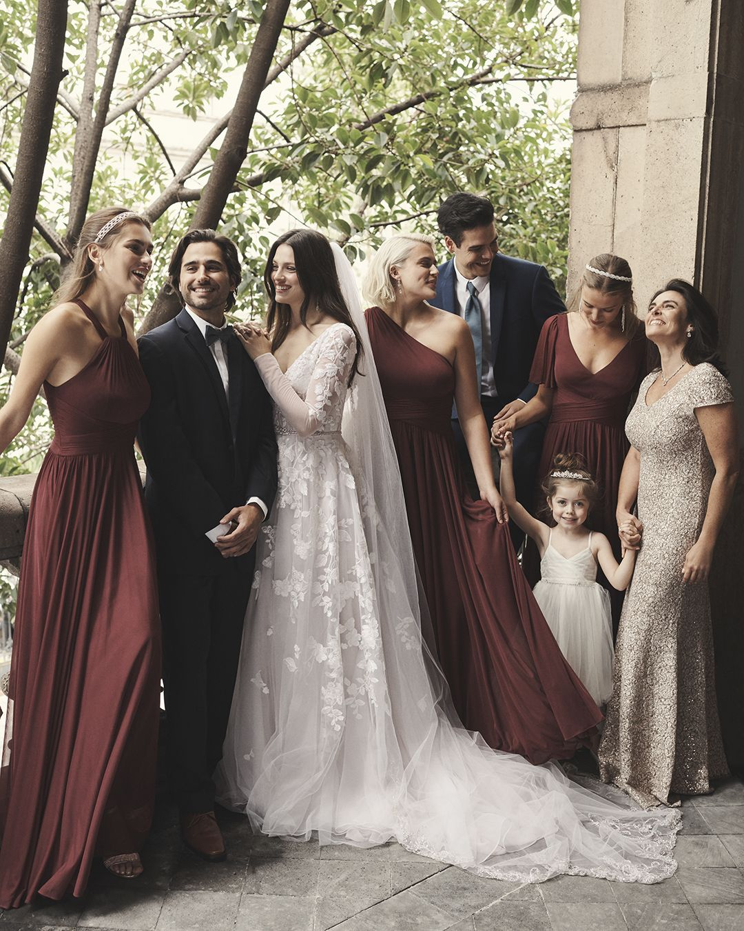 Burgundy Wedding Goals The Wine Bridesmaid Dresses Look Beautiful With The Long Sleeve Lace Weddi Wine Bridesmaid Dresses Wedding Dresses Plus Wedding Dresses [ 1350 x 1080 Pixel ]