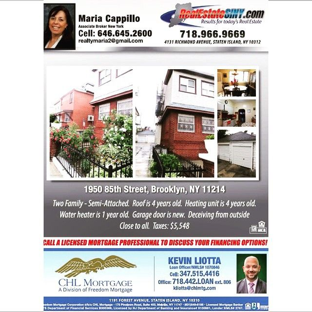 Come join RealEstateSINY.com's realtor Maria Cappillo and CHL Mortgage Specialist Kevib Lotta for an open house tomorrow, Saturday, June 20th, from 12pm to 2pm. 1950 85th Street (Brooklyn, NY, 11214) is a two family semi-attached home for sale in Bensonhurst. #RealEstateSINY #StatenIsland #NewYork #OpenHouse #Brooklyn #Bensonhurst #TwoFamily #SemiAttached #CHLMortgage