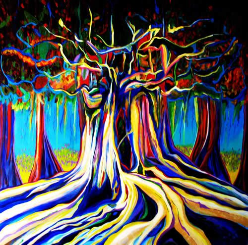 High Contrast Neon Painting Banyan Tree Pinterest