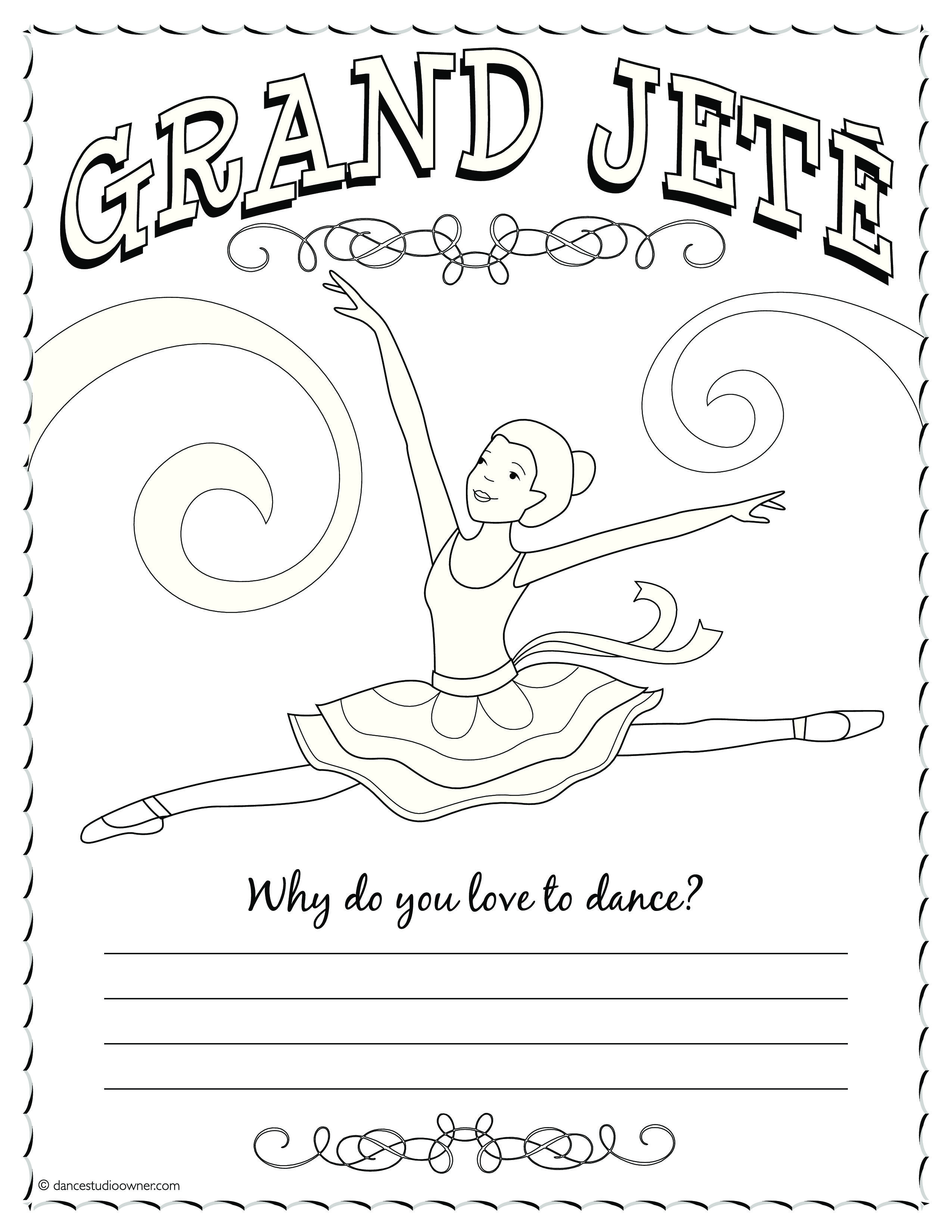 Grand Jete Coloring Page Dance Coloring Pages Ballet Positions Teach Dance