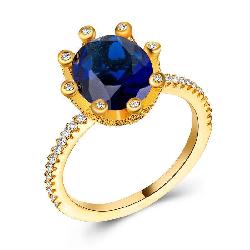 65108fc8c993 Anillo-Moda de Mujer Corte Redondo Azul Zafiro 18 K chapado en oro anillo de