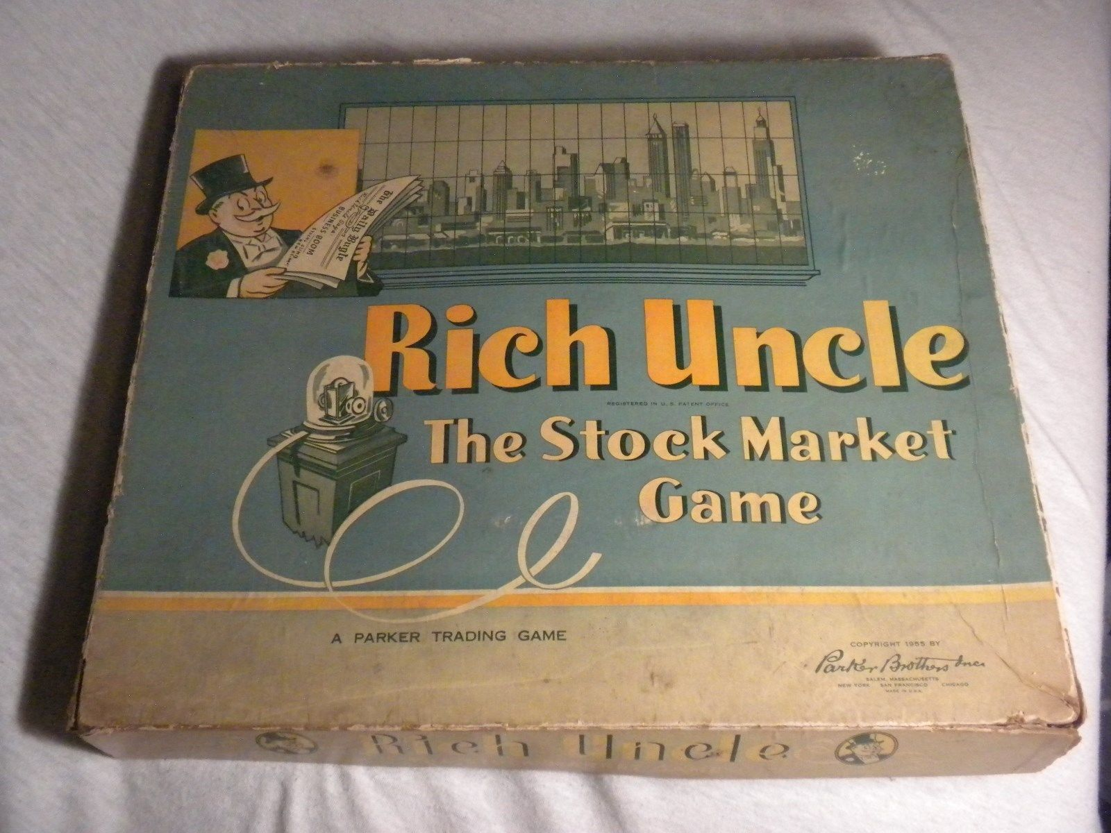 Rich uncle board game vintage parker brothers in box 1955 original monopoly