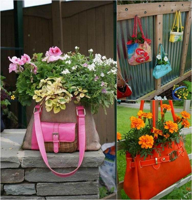 alte handtaschen werden zu neuen pflanzgefäßen | garten