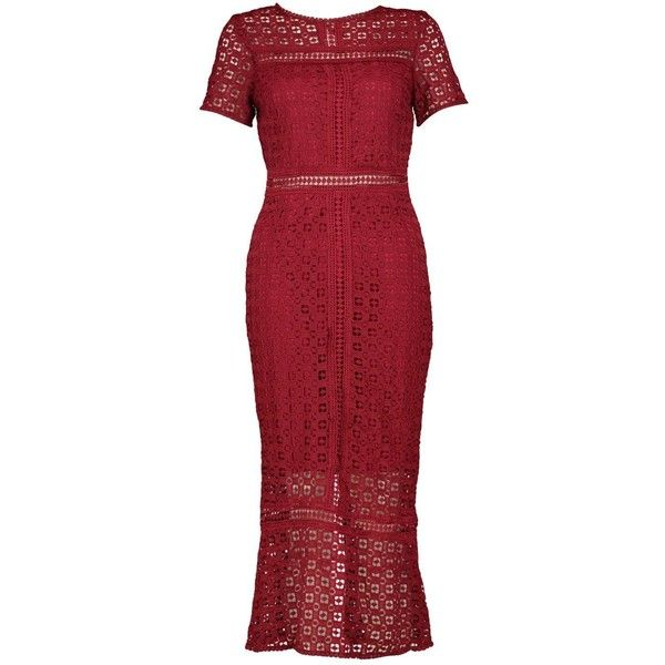 Boohoo Boutique Odette Crochet Midi Dress 70 Liked On Polyvore Featuring Dresses Body Con Dresses Re Crochet Midi Dress Red Bodycon Dress Clothes Design
