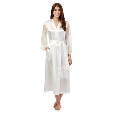 63715ffca1 The Collection White satin lace insert long dressing gown ...