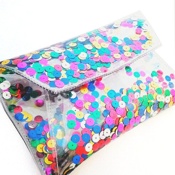 Sequin bag Clear purse clutch transparent 90's by YPSILONBAGS