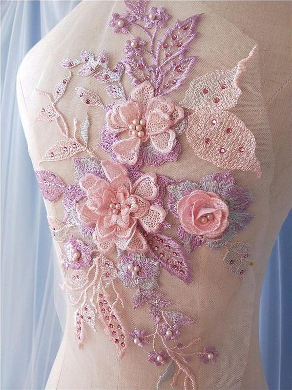 A Purple bridal floral lace Applique// wedding lace motif for sale.Sold by piece