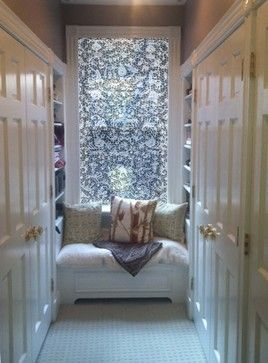 Hall closets with diffused natural light and pattern to increase privacy via Delia Shades' custom solar shades