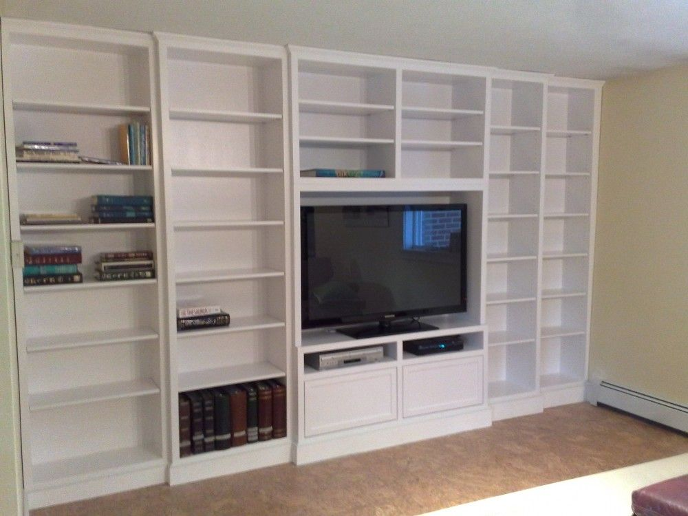 Built In White Lacquer Wall Unit Adjustable Shelving Built In