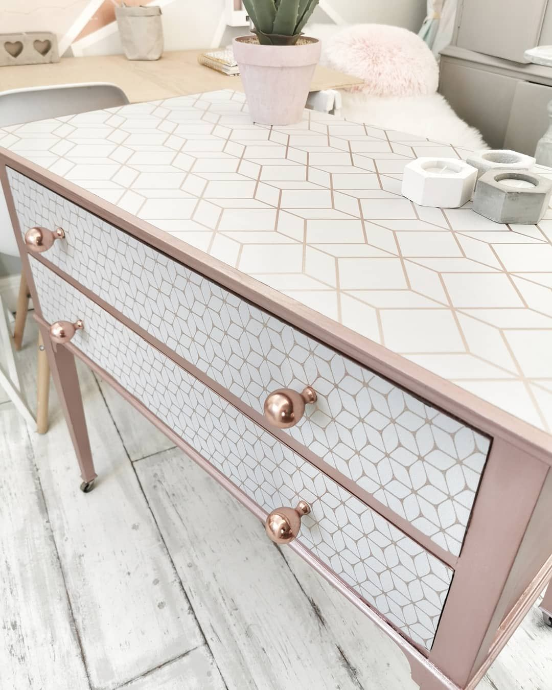 Chest Of Drawers Painted In Rose Gold Paint Decoupaged With Geometric Wallpaper Rose Gold Furniture Gold Painted Furniture Geometric Furniture