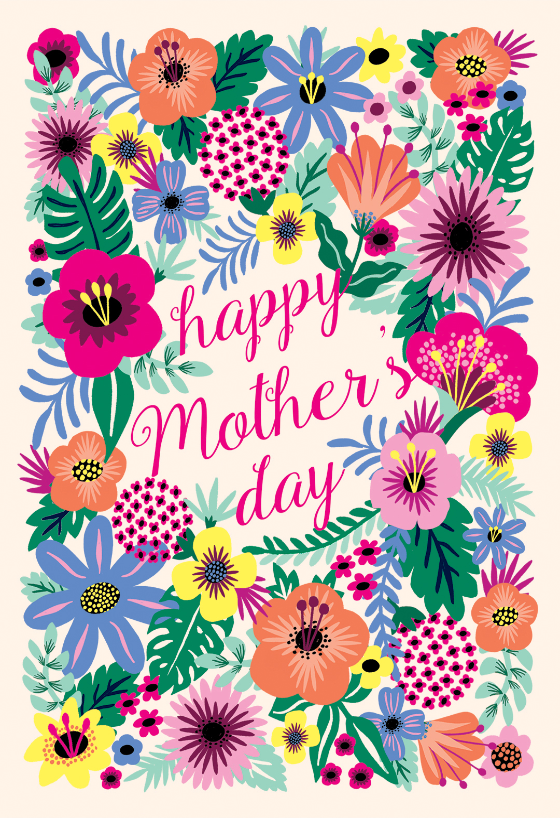 Whimsical Bouquet Mother S Day Card Greetings Island Mothers Day Card Template Mother S Day Background Mothers Day Poster