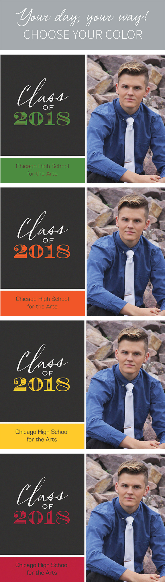 Congratulations, Grads! Celebrate your day your way by choosing the perfect color for your personalized grad announcements.